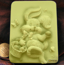 Easter bunny shape soap silicone mold handmade soap mould DIY tools(China)