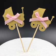 Gold Baby Wagon Cupcake toppers picks decoration for Kids birthday party favors Decoration Baby shower cake favor supplies
