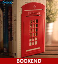 Creative Telephone Booth Metal Book Ends , Novelty Vintage Phone Booth Bookend as book stand for home and office(China)