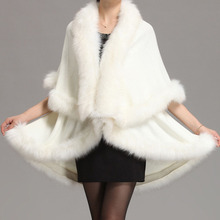2016 winter new large size women's temperament double-knit cardigan imitation fox fur cape fur shawl fashion poncho(China)