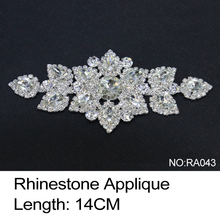 2017 Direct Selling Real Ra043 Rhinestone Applique 3pcs/lot Crystal Clear And Silver Base Sew On Use For Wedding Dress Ornament