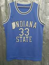 KPWDFJ Mens Indiana State Sycamores Larry Bird #33 Blue Basketball Jerseys Embroidery Logos New Materials With Double Stitchin
