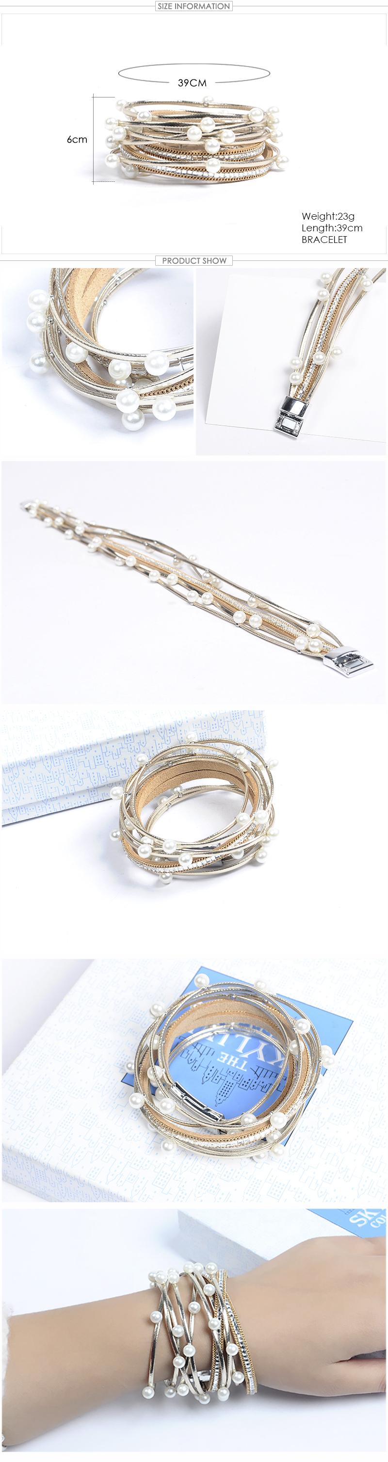 Pearl Leather Bangle Wrap