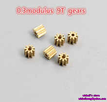 10PCS! 0.3modulus 9teeth copper gear for diameter 1mm shaft ~(China)