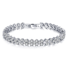 Wholesale CZ Diamond Crystal Bracelets Wedding Bangle Fashion Women Jewelry For  Girls Gift
