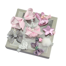 1set New Fashion Different Designs Heart Flower Crown Fur Ball Stars Hair Bows With clip bow for girls hair accessories 679