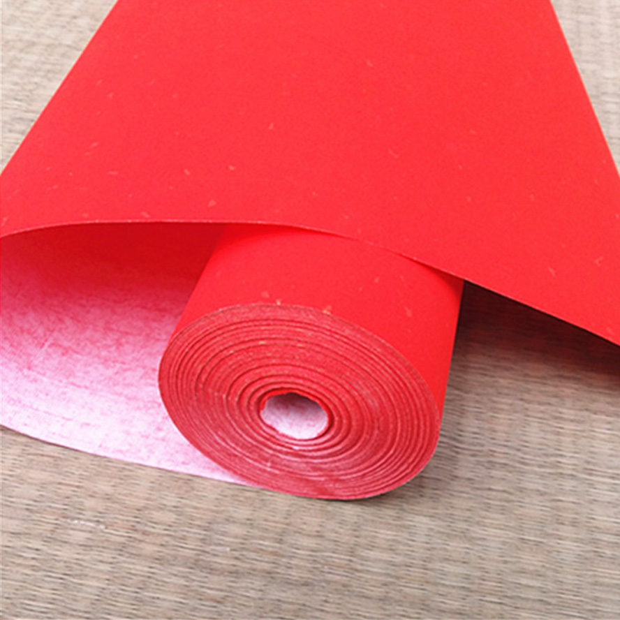 Red Chinese Bamboo Rice Paper Couplets Roll For Painting Calligraphy Xuan Paper Roll<br>
