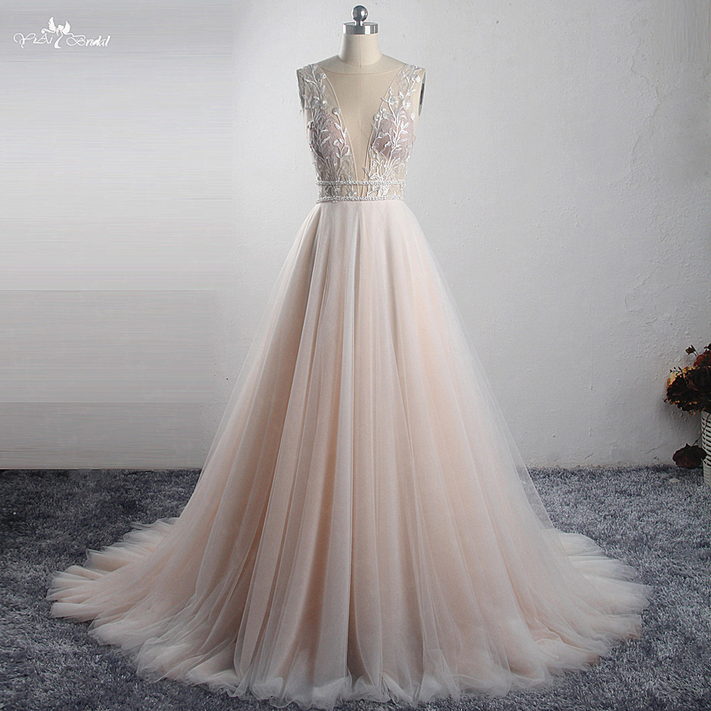 LZ321 Simply Beautiful Deep V Neckline Soft Tulle Wedding Dress Blush Colored Wildely Boho Bridal Dress Two Bead Belts Dress