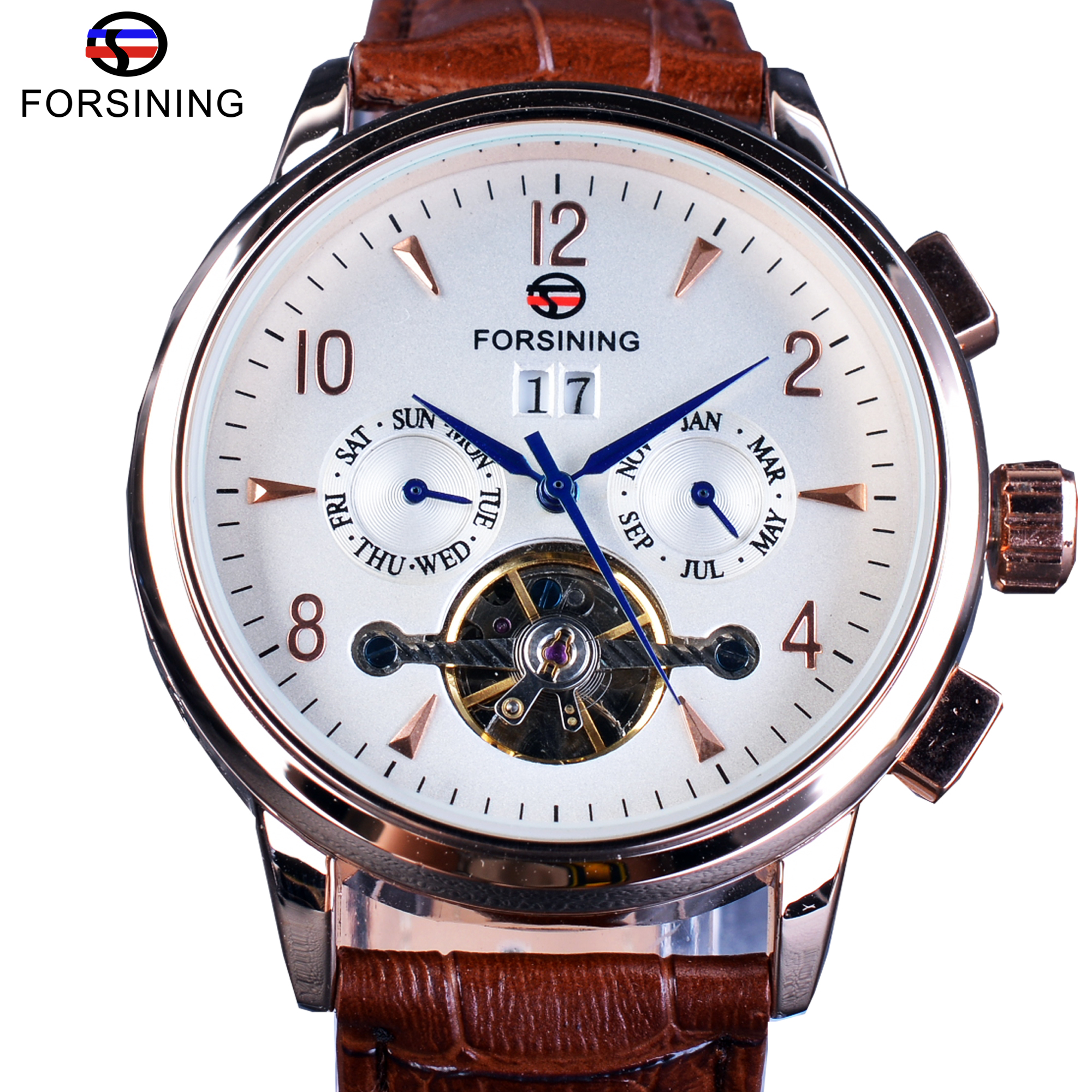 Forsining Classic Tourbillion Design Genuine Brown Leather Strap Calendar Display Mens Watches Top Brand Luxury Automatic Clock<br>