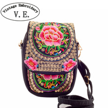 Boho Ethnic Embroidery bag Vintage national embroidered canvas mobile phone small coins Cover bags shoulder  Messenger bag