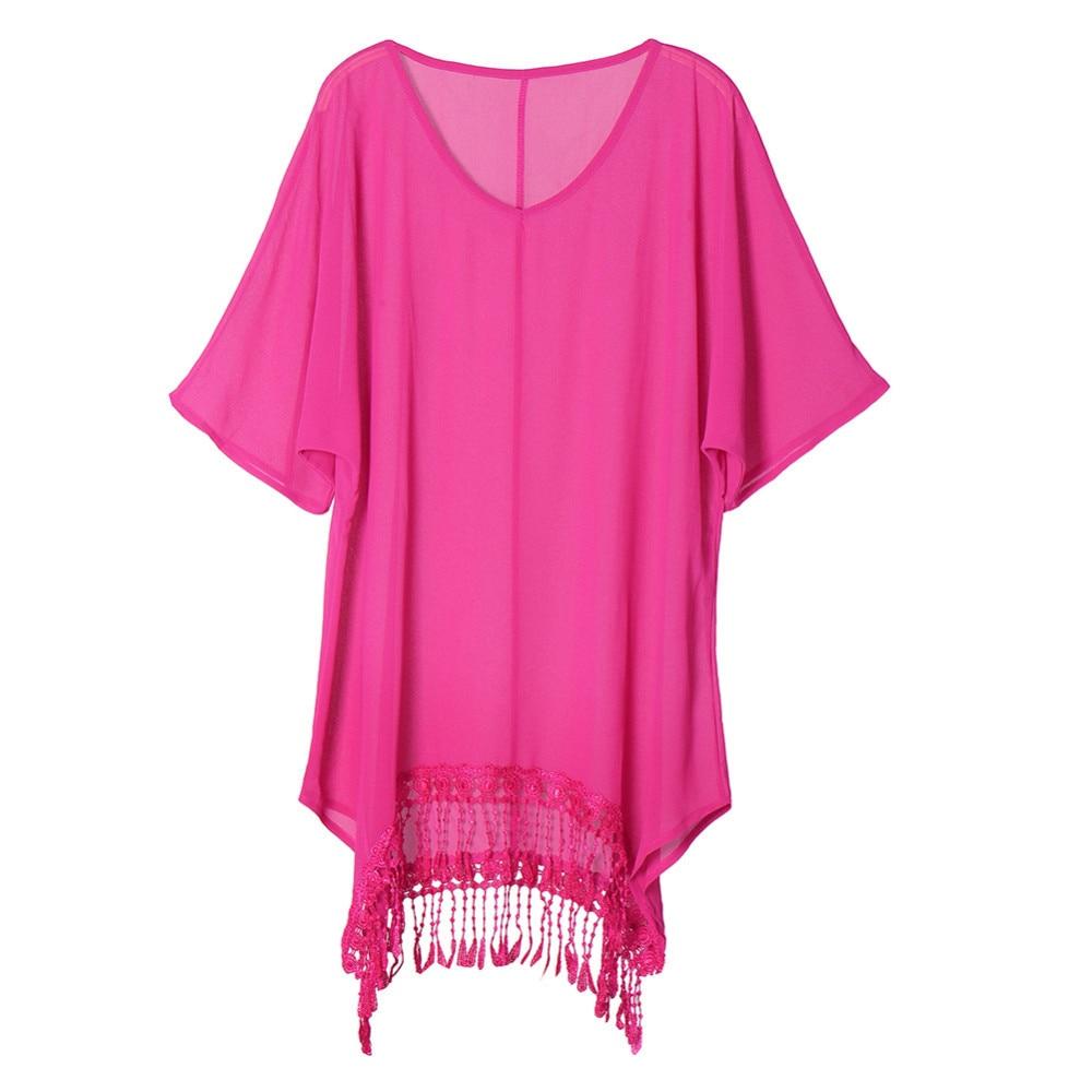 Plus Size 3xl Mini See Through Chiffon Dress For Women Sexy Tassel Crochet Tunic Beach Dress Beach Wear 16