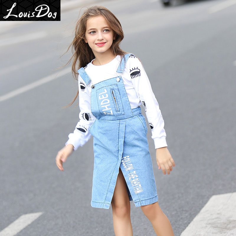 LouisDog light blue jeans overall dress teenagers kids girls unique design brand dresses size 6-16 years<br><br>Aliexpress