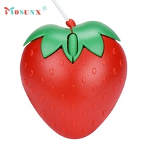 Beautiful Gift New Strawberry Optical USB LED Wired Game Mouse Mice For PC Laptop Computer Wholesale price May11