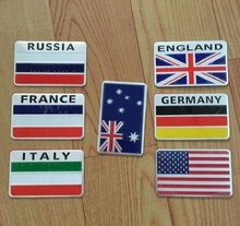 25 pcs/lot 3D Aluminum car stickers US Russia UK Germany France Italy Australia flag logo car styling decoration accessories