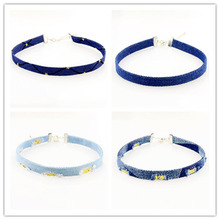 Fashion jewelry fashion jewelry Denim canvas choker necklace mix color gift for women girl N1970