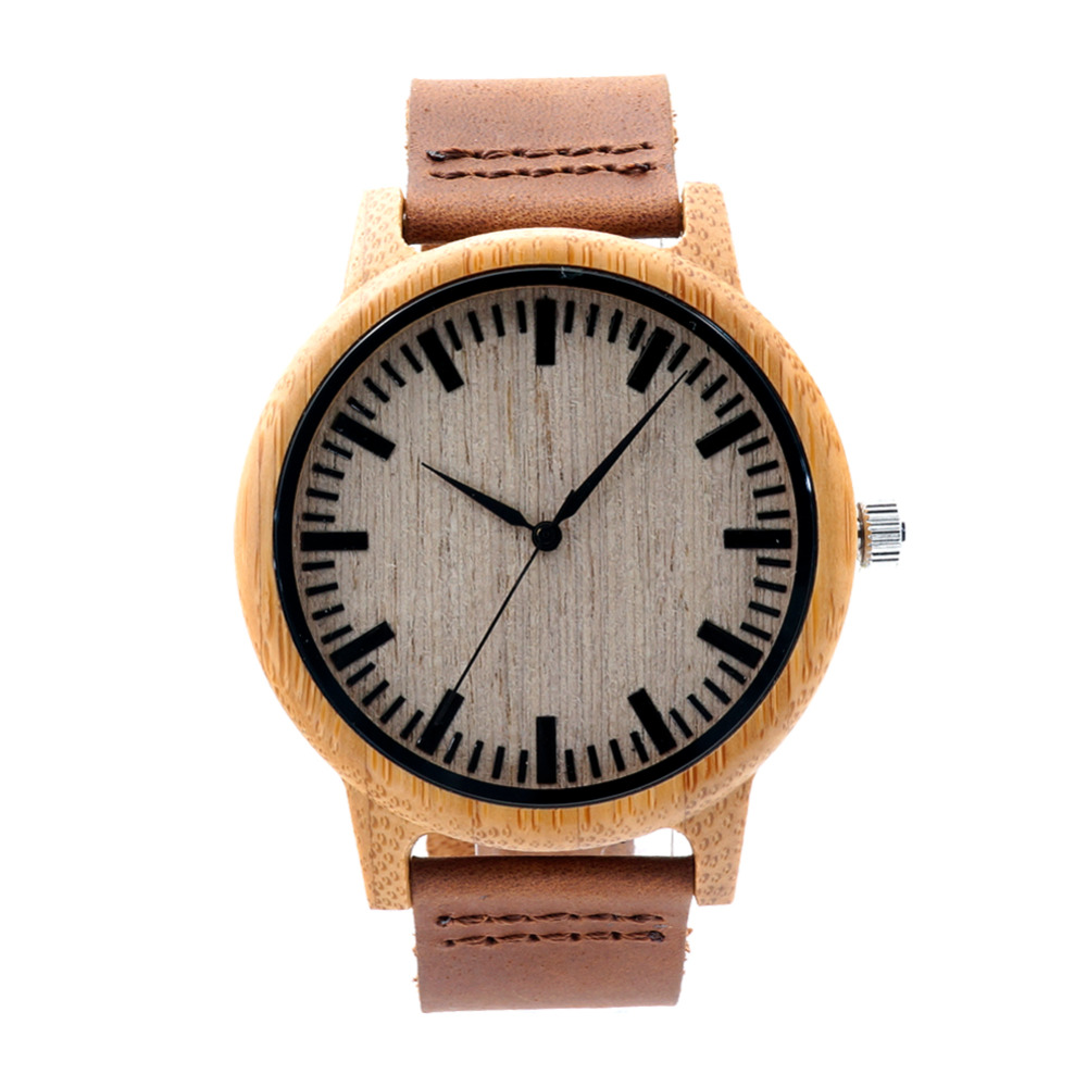 Fashion Handmade Watch Men Women Made from Real Bamboo Wood  No Paint and No Chemical with Geniune Leather Strap<br><br>Aliexpress