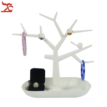 White Plastic Tree Jewelry Display Stand Jewelry Bracelet Necklace Earring Ring Display Stand Organizer Holder 27*27.5CM
