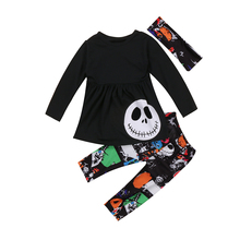 Pudcoco 3PCS Toddler Kids Baby Girls Autumn Halloween Outfits Pumpkin Dress Clothes T-shirt Tops+ Leggings Pants Set 2-7Y(China)