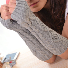 1 Pair Fashion Autumn Winter Spring Warm Women Ladies Girl Solid Gloves Arm Warmer Long Fingerless Knitting Wool Mittens(China)