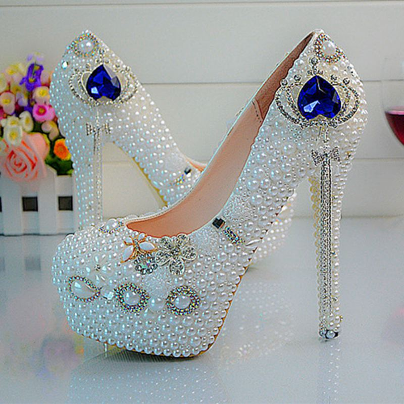 Customize  Rhinestone Sapphire Crown Tassel  Pearls  Wedding Shoes High Heels Slip On Bridal Shoes  Platform Shoes  No55<br><br>Aliexpress