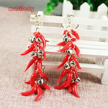 100pcs/lot Peper Keychain Chili Keychain Bell Keychain Red Hot Chili Peppers Keychain Festive Gifts Hot love Vegetable Keyring