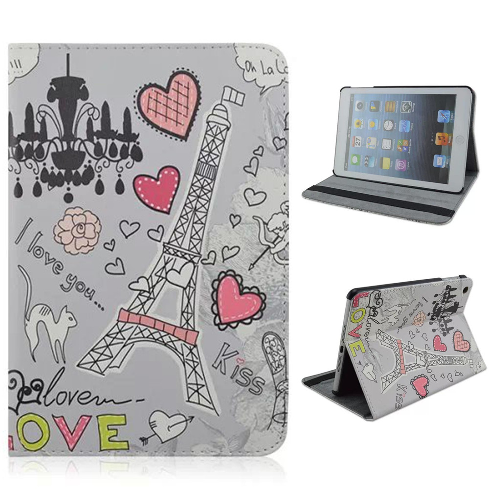 PU Material Support Design Card Holder Protective Cover Case of Heart-shaped Pattern for iPad Air 1<br><br>Aliexpress