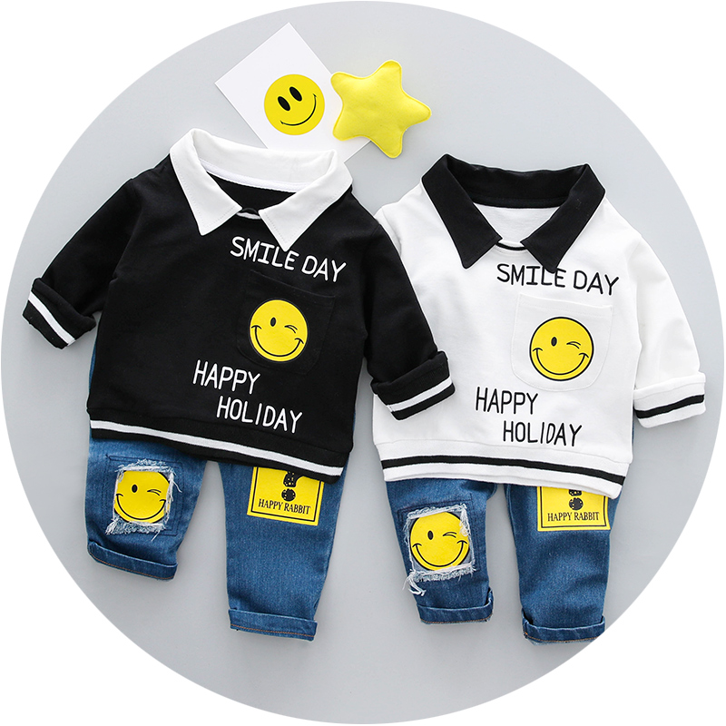 Boys Clothing Set Spring 0-3y New 2018 Fashion Style Cotton turn-down collar full Sleeve with smile Print Baby Boy Clothes 18001 4