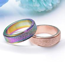 Fashion 6MM rose gold titanium steel grinding ring ring with ring color can rotate rings 4-11 + Box(China)