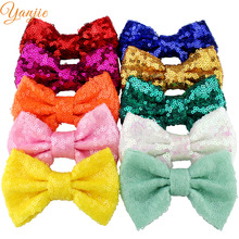 "10pcs/lot 33colors Girls 4"" Sequin Hair Bows Hair Clips For Kids 2017 Gold /Silver Glitter Sequin Bow Headband Hair Accessories(China)"