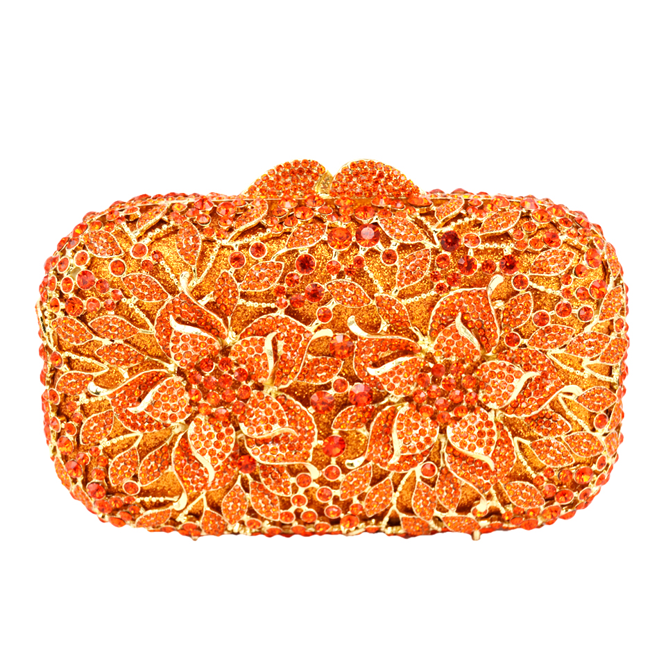 Flower Pattern Evening Bag Blue Luxury Crystal orange Evening Clutch Bag Gold Diamond Party Purse Silver Banquet bag 88165(China)
