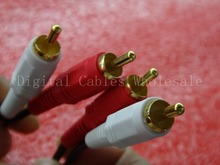 Wholesale 2RCA Male to 2RCA Male Audio Video Extended AV Cable Cord for DVD HDTV Speaker Phone Plugs 1.5M 3M 5M 10M 15M 20M