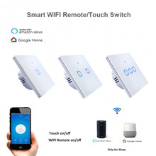 New eWelink 1 2 3 Gang 1 way Wifi Control Switch via Android IOS, Wireless Control Light Touch Wall Switch for Smart Home(China)