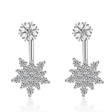 JEXXI Elegant Fashion Silver Rose Gold Mosaic African AAA Crystal Snowflake Neckband Stud Earrings for Women Brincos Ear Jewerly