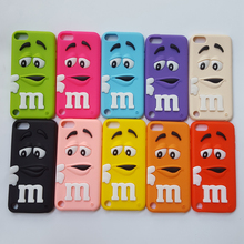 3D Cartoon M&M's Chocolate Rainbow Beans Soft Silicone Case for Apple iPod touch 4 5 6 itouch 4 5 6 Rubber Cover Phone Cases