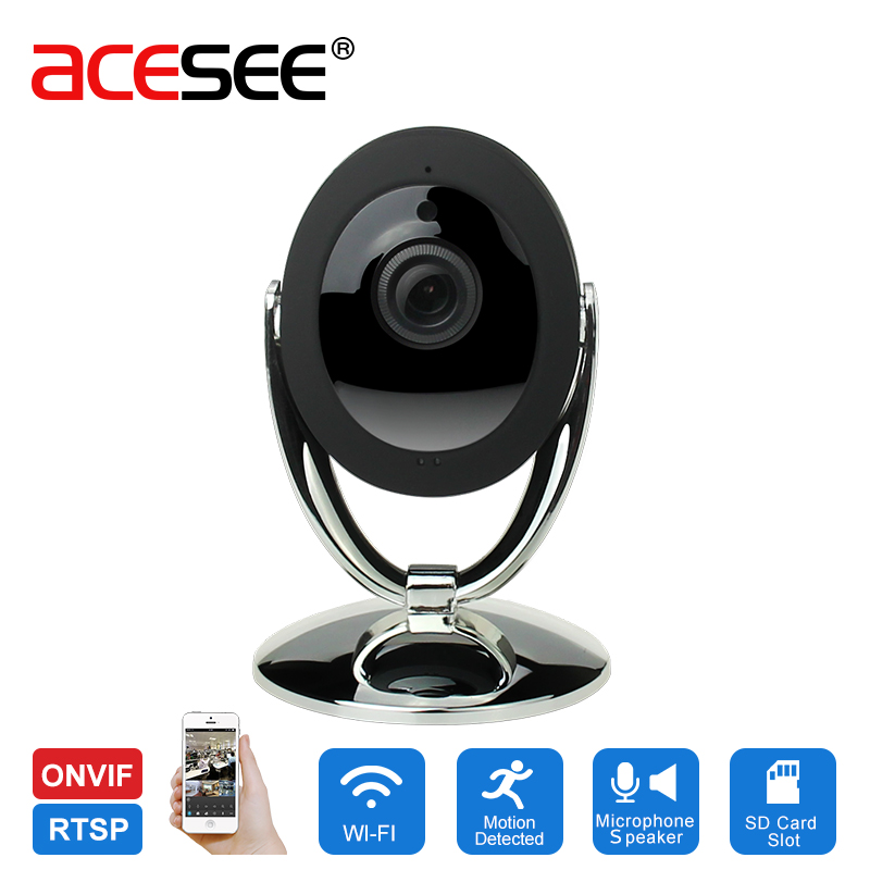 ACESEE Wireless IP Camera 720P Night Vision 2-Way Audio wifi Motion Alarm Mini Smart Home Webcam Video Baby Monitor 16GB SD Card<br>