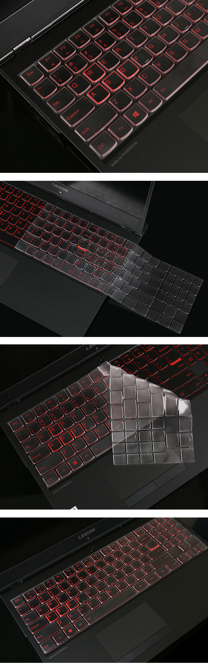 TPU Invisible Keyboard Cover Protector Film for Lenovo Savior Y7000 15.6 Notebook Keyboard Wetarproof Dustproof Membrane.-Clear