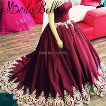 Classic Dark Red Satin Wedding Dress Lace Straps Applique Gold Abito Sposa Buy Wedding Gowns Online Shopping Saudi Arabia