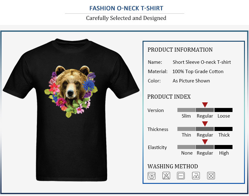 Floral Bearr Mens Fied Classic Tops T Shirt Round Collar Lovers Day Coon T-shirts Summer Short Sleeve Sweatshirts Floral Bearr
