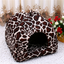 Fleece Cat Tent Bed 2017 New Pet House Foldable Soft Warm Leopard Print And Strawberry Cave Cat Dog Bed Cute Kennel Nest Dog(China)