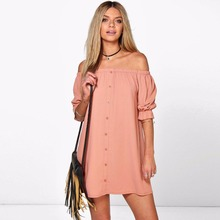 Sexy Loose Strapless Slash Neck Off Shoulder Dress Button Half Sleeve 2017 Summer Dress Women Mini Shirt Dresses Casual Vestidos