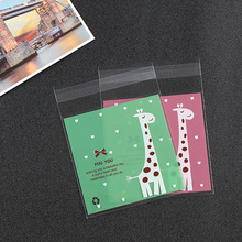 500PCS Lovely Giraffe Cellophane Cookie Bags With Adhesive Cookie Bags Plastic Christmas Decor Candy OPP Bags Packing 10x10(China)