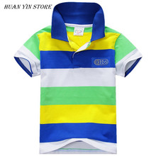 Summer Fashion Style Kids Baby Boys Cotton Striped T-shirt Multi Color Short Sleeve Top S-XXL(China)