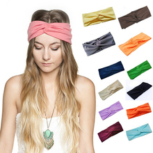 Hair Accessories Twist Elasticity Turban Headbands for Women Sport Head band Yoga Headband Headwear Hairbands Bows Girls LEN01(China)