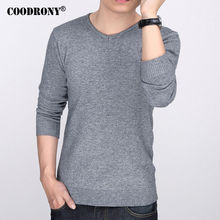 COODRONY Brand Pure Wool Pullover Men Slim Fit Cashmere Sweater Men Autumn Winter Thick Warm Sweaters All-Match V-neck Pull 7201(China)