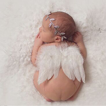 Baby favorite White Angel Wings & Headband Boutique Newborn Baby Kids Photography Feather Photo Props 0-6M 89(China)