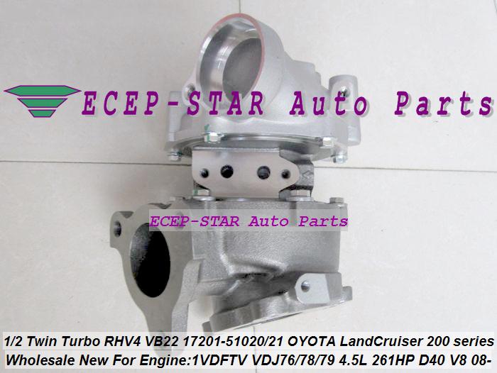 1pc Twin Turbo RHV4 VB22 17201-51020 17201-51021 Turbo For TOYOTA Land Cruiser 200 series D-40 V8 1VD-FTV VDJ76 VDJ78 VDJ79 4.5L (4)