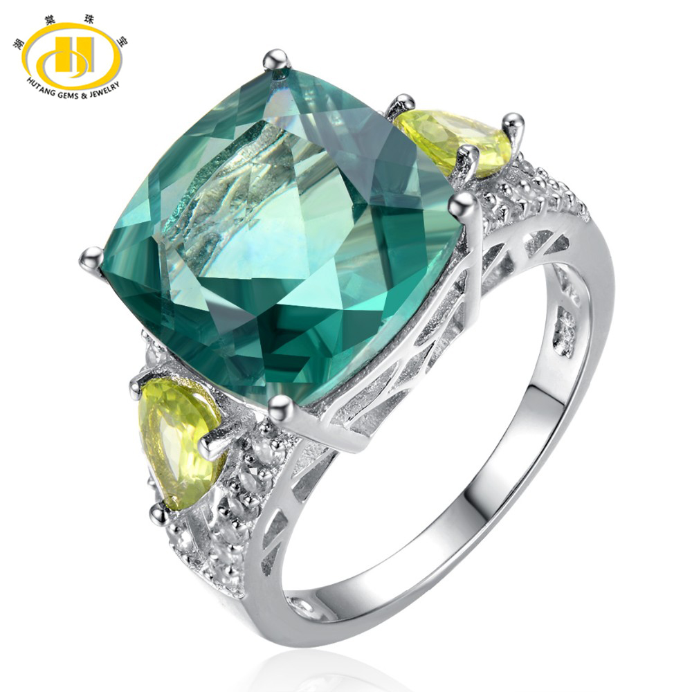 Hutang Gems & Jewelry Natural Green Fluorite & Peridot 925 Silver Ring Women Party Cocktail Ring Fine Jewelry Accessories