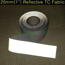"25mm(1"") High Visibility Bright Silver Reflective TC Fabric Tape Cloth Sewing on Clothing Cap Bags Choose Lenght Free Shipping(China)"
