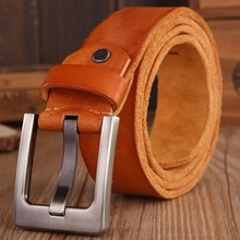 2017 belts men high quality full grain 100% real genuine leather natural soft strap camel girdle brown wide luxury cowboy 125 cm(China)