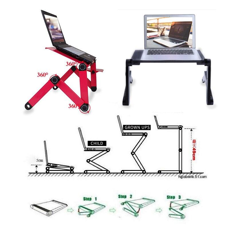 SUFEILE laptop stand MultiFunctional Folding Laptop Table Fan Desk Bed Sofa Tray 360 rolling Adjustable Notebook Desk D15